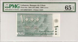 P - 84a 2004 1000 Livres,  Lebanon,  Banque Du Liban,  Pmg 65epq photo