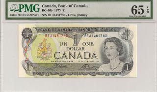 Bc - 46b 1973 1 Dollar,  Bank Of Canada,  Pmg 65epq photo