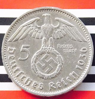 German Coin 5 Mark Reichsmark 1936 F Swastika Hindenburg 90 Silver 3rd Nazi Ww2 photo