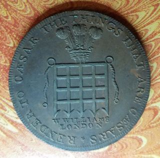 1795 Great Britain Middlesex Williams ' Half Penny D&h 916 Almost Unc/unc Rare R5 photo