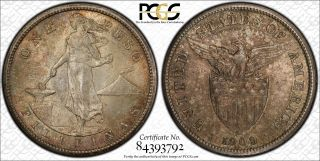 Us Philippines 1909 - S One Peso Pcgs Ms 64 (pop.  10/5) Cppm photo