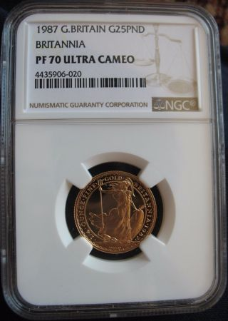 1987 Great Britain 1/4oz Gold 25 Pounds Ngc Pf - 70 Ult.  Cameo Britannia photo