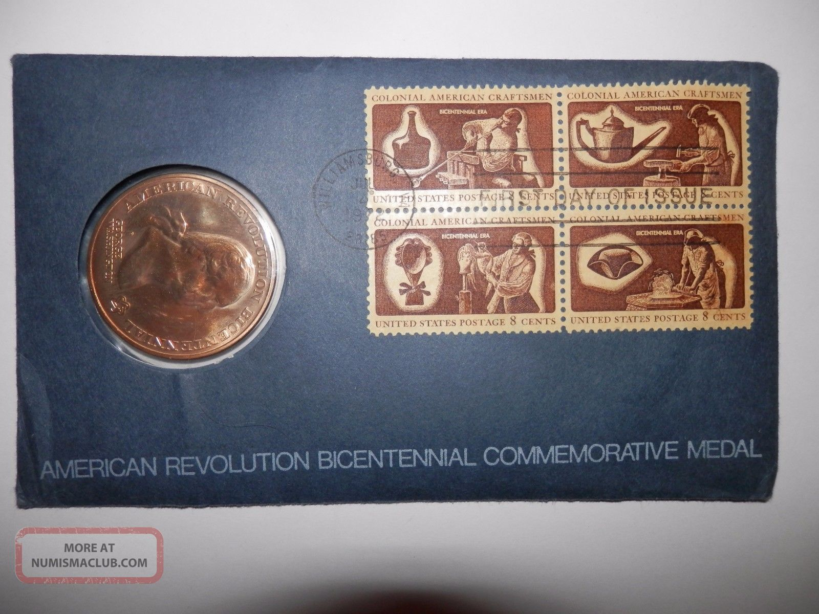 American Revolution Bicentennial Commemorative Medal 1972 First Day Issue July 4 Exonumia photo