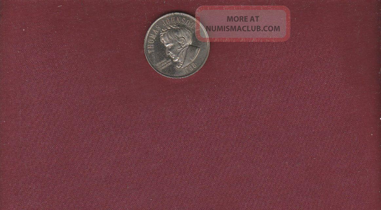 Thomas Johnson 1788 State Of Maryland Medal Silver Tone Finish 1 1/4 Inch Diam. Exonumia photo