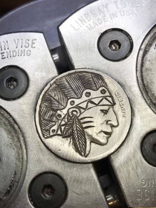 Coin Art Hobo Nickel Feather Headdress Chief 105 photo