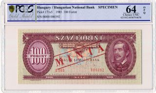 Hungarian National Bank Hungary 100 Forint 1985 Specimen Pcgs 64opq photo