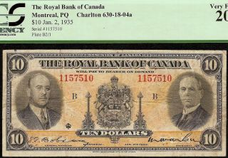 1935 $10 Dollar Bill Royal Bank Of Canada Currency Note Paper Money Pcgs Vf photo