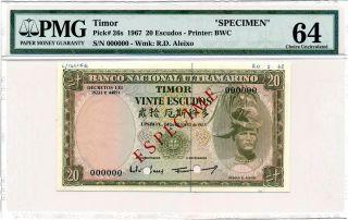 Banco Nacional Timor 20 Escudos 1967 Spec. ,  00000 Pmg 64 photo