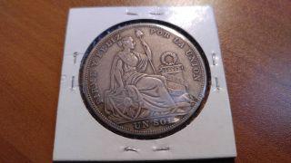 1926 Peru Silver 1 Sol Coin photo