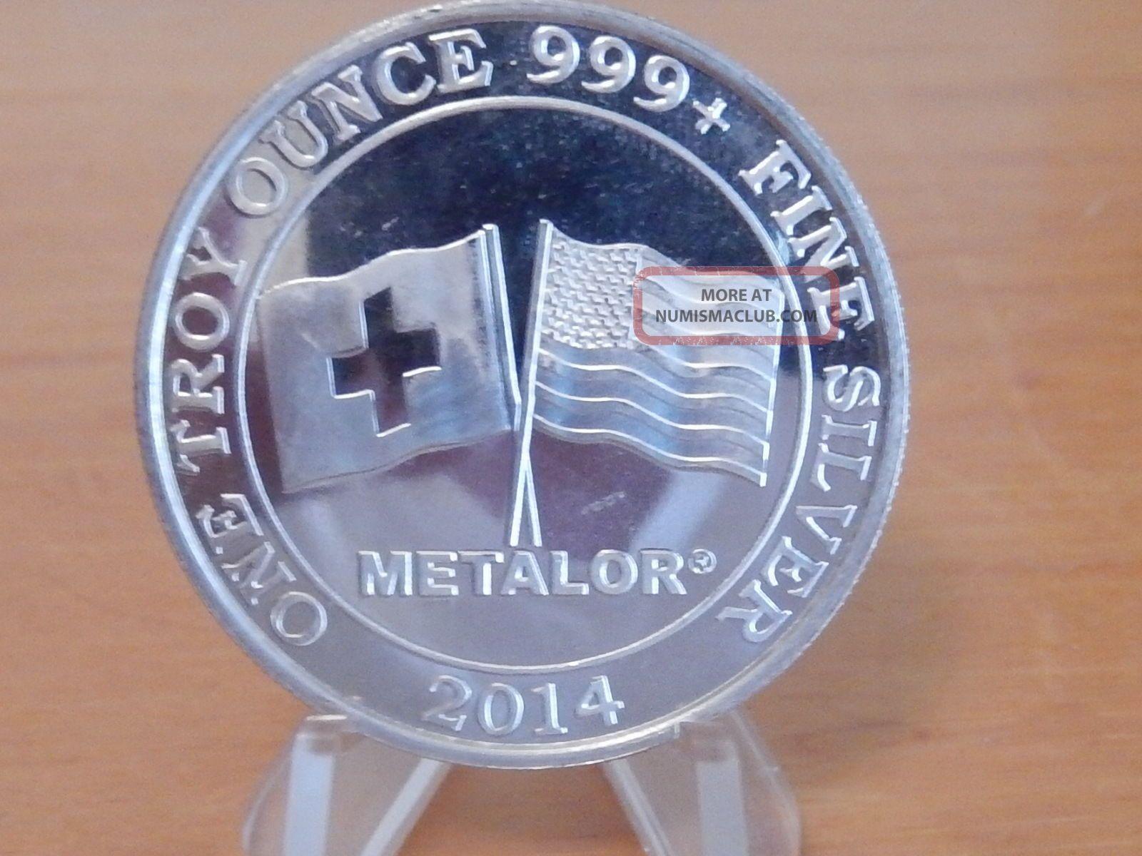 1 Oz 999,  Fine Silver Metalor Round Swiss And American Silver Coin Bullion Silver photo