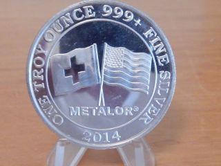 1 Oz 999,  Fine Silver Metalor Round Swiss And American Silver Coin Bullion photo