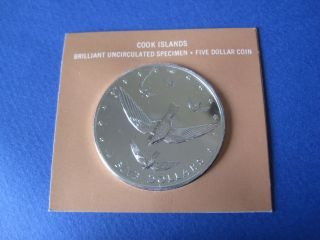1977 Cook Islands $5 Silver Atiu Swiftlet - Bu Specimen In photo