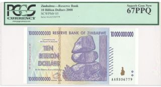 Huge Deno Hi Grade 2008 Zimbabwe 10 Billion Dollars Pcgs 67 Ppq Gem P 85 photo