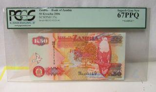 2006 Bank Of Zambia 50 Kwacha Bank Note Certified Pcgc 67ppq photo
