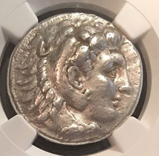 Alexander The Great Side Ancient Greek Silver Tetradrachm Ngc Vf 17.  18g photo