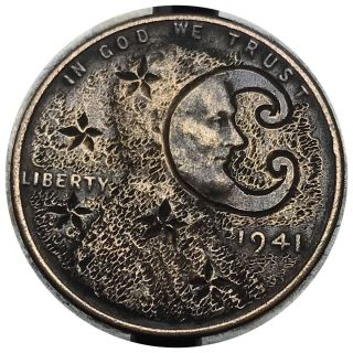 Coin Art Hobo Nickel Man In The Moon Stars 16 photo