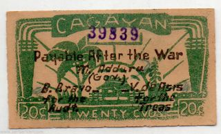 Philippines Cagayan Emergency Note S183 1942 Nd 20 Centavos Wwii Lead Plate Au photo