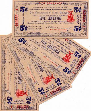 4 Philippines 1942 Negros Occidental 5 Centavos Banknote S640 Encarnacion Series photo