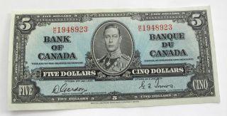 1937 Canada Banknote $5 Dollars Bank Of Canada Au Bc - 23b M/c1948923 photo