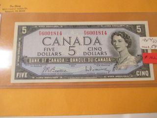 1954 $5 Bank Of Canada Unc photo