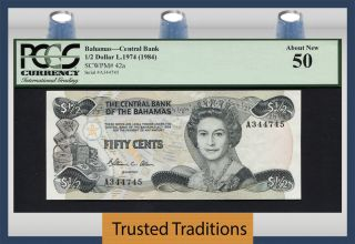 Tt Pk 42a 1974 (1984) Bahamas 1/2 Dollars Queen Elizabeth Ii Pcgs 50 About photo