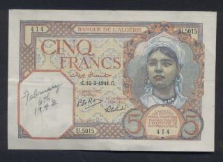 Algerie French Algeria (p.  77) 5 Francs 1941.  13.  3 Avf/vf photo