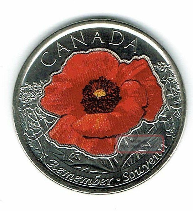 2015 Canadian Brilliant Uncirculated Commemorative Colored Poppy 25 Cent Coin Twenty-Five Cents photo