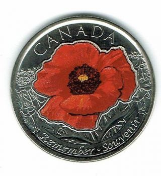 2015 Canadian Brilliant Uncirculated Commemorative Colored Poppy 25 Cent Coin photo