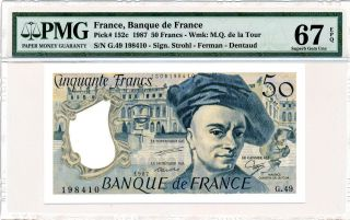Banque De Francs France 50 Francs 1987 Pmg 67epq photo