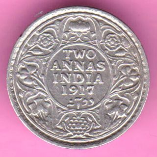 British India - 1917 - Two Annas - King George V - Rarest Silver Coin - 21 photo