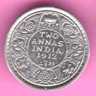 British India - 1912 - Two Annas - King George V - Rarest Silver Coin - 20 photo