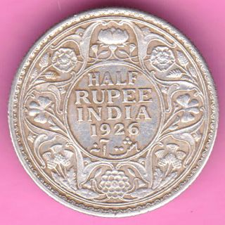British India - 1926 - King George V - Half Rupee - Rarest Silver Coin - 25 photo