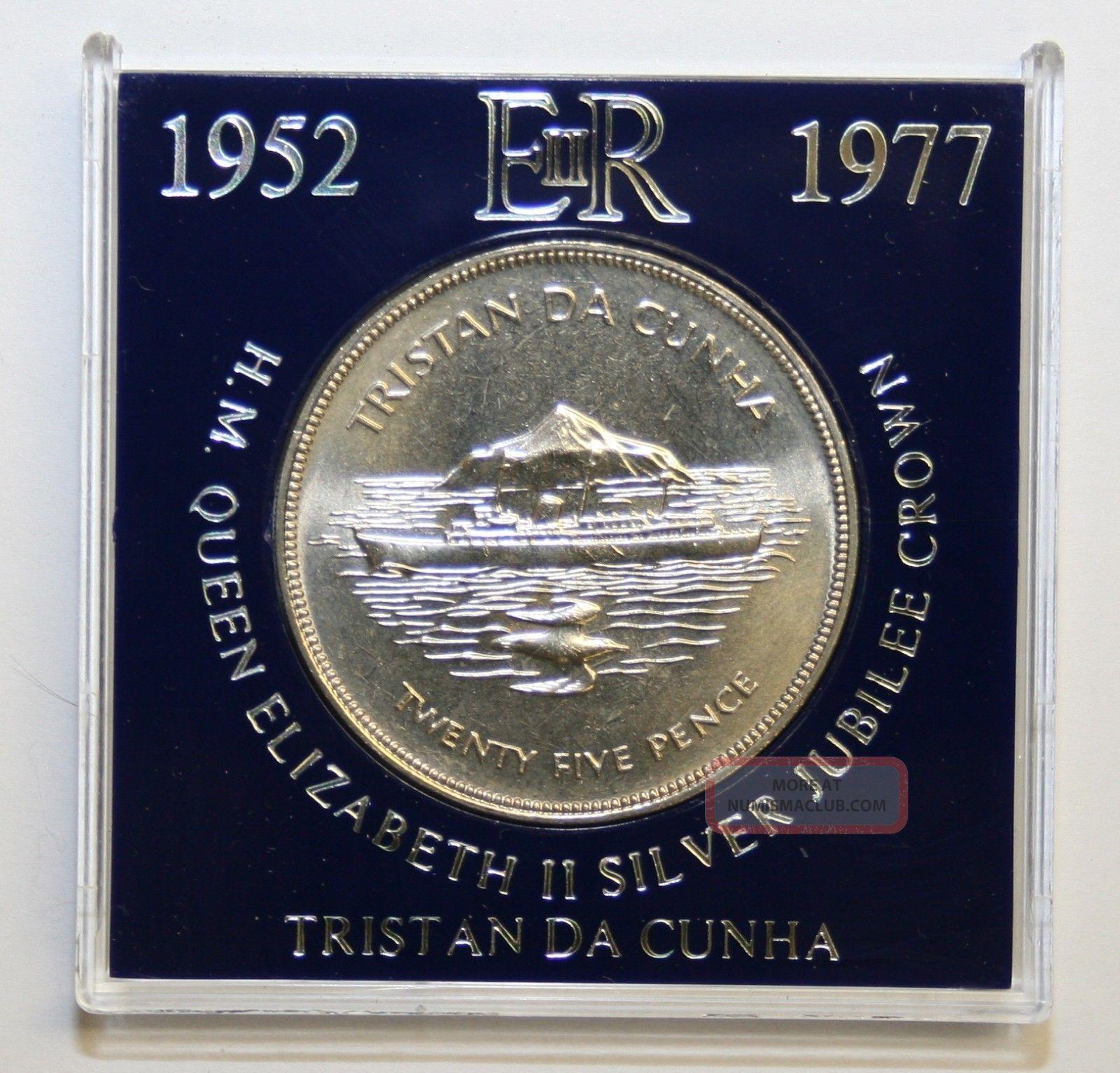 1977 Tristan Da Cunha Uncirculated Cased Crown Silver Jubilee Coins: World photo
