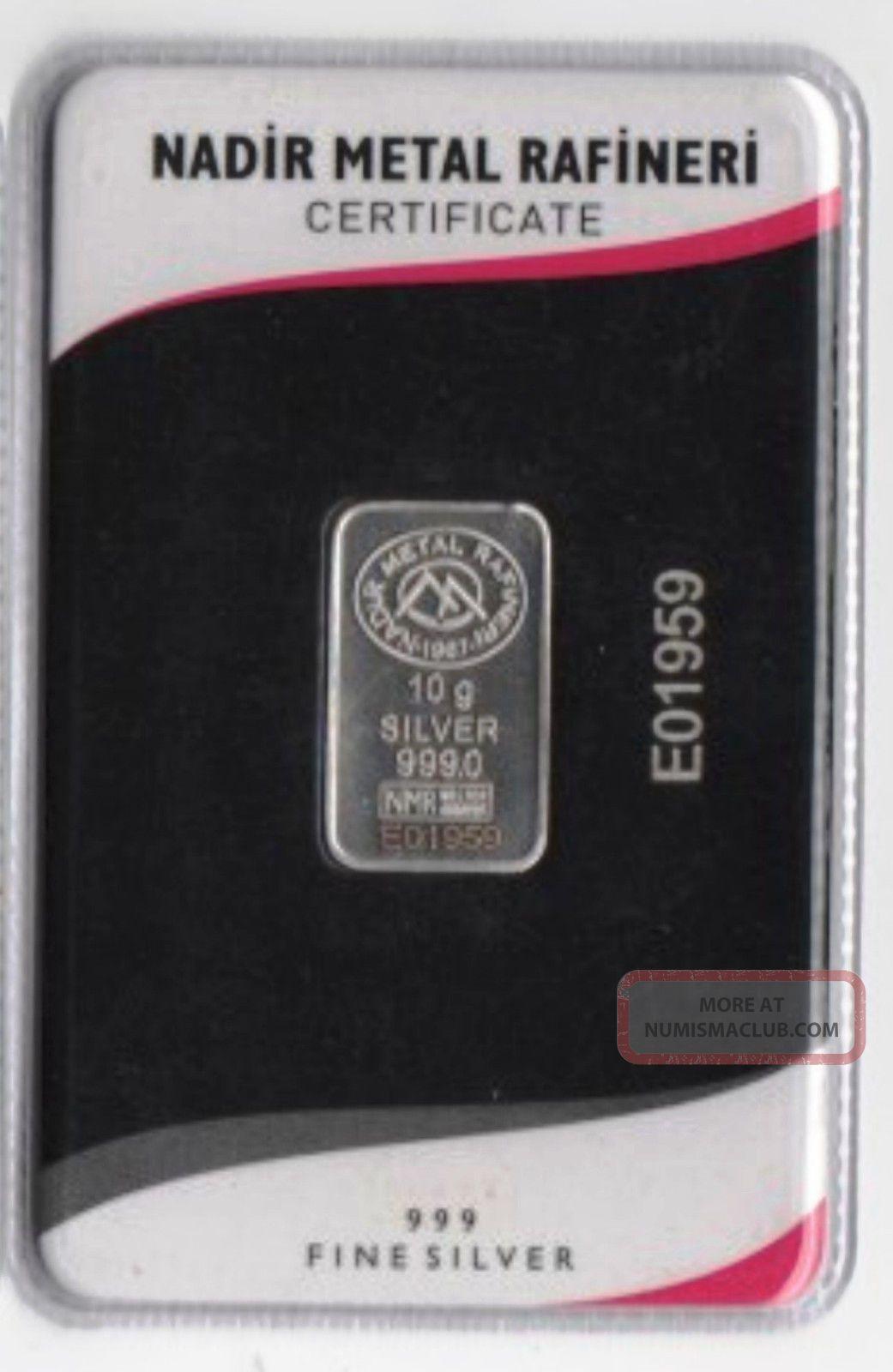 10 Gram 999/1000.  Silver Bullion,  Ingot.  Lmba Certified Serial Num Nadir 2015 Bar Silver photo