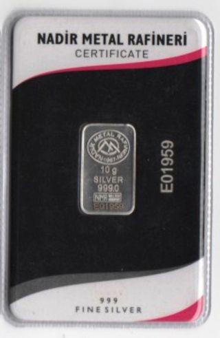 10 Gram 999/1000.  Silver Bullion,  Ingot.  Lmba Certified Serial Num Nadir 2015 Bar photo