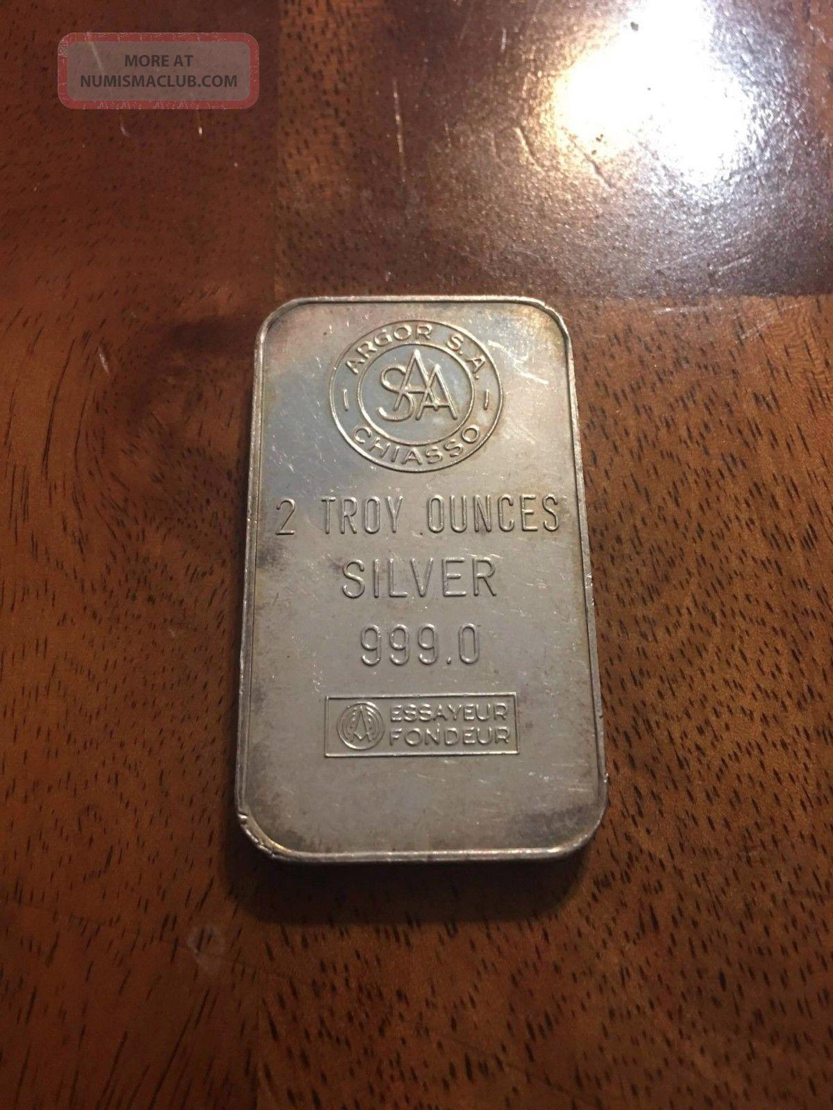 Argor S.  A.  Chiasso Silver 2 Oz Silver Ingot Bar Rare.  999 Silver photo