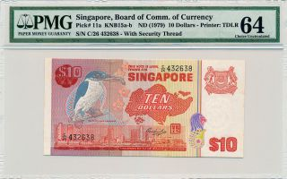 Board Of Comm.  Of Currency Singapore $10 Nd (1979) Pmg 64 photo