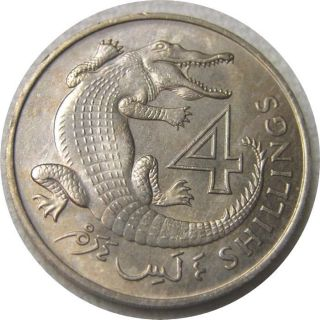Elf The Gambia 4 Shillings 1966 Crocodile photo