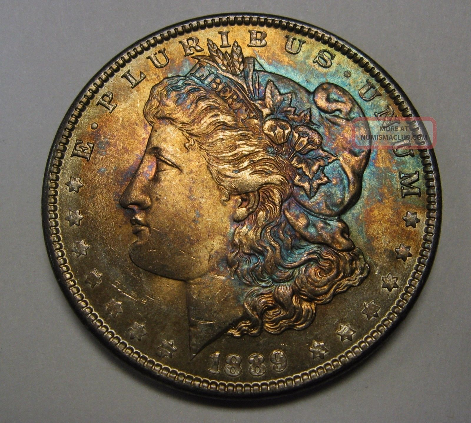 Stunning Rainbow Toned 1889 Morgan Silver Dollar Grading Gem Bu C43 Dollars photo