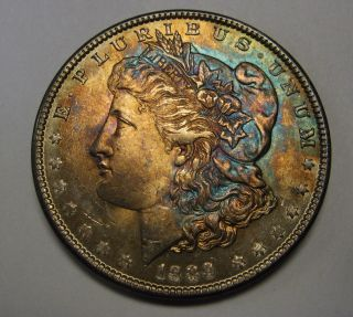 Stunning Rainbow Toned 1889 Morgan Silver Dollar Grading Gem Bu C43 photo