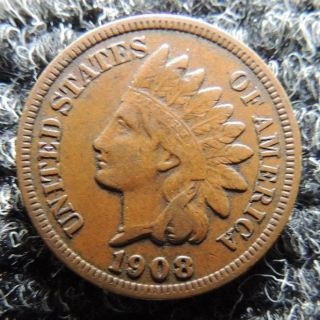 1908 Extra Fine Indian Cent Coin Invest photo