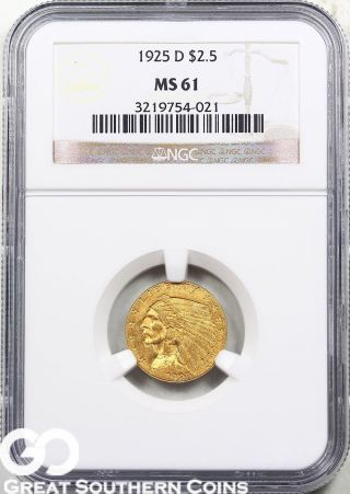 1925 - D Ngc Quarter Eagle,  $2.  5 Gold Indian Ngc Ms 61 photo