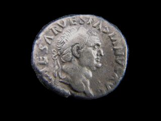 Silver Denarius Of Roman Emperor Vespasian,  77 - 79 Ad Cc6845 photo