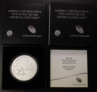 2014 P Great Sand Dunes - Coloado - Atb 5oz.  999 Silver W/box & photo