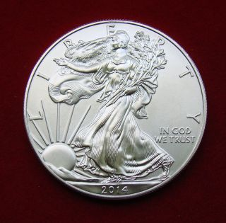 2014 Silver Dollar Coin 1 Troy Oz American Eagle Walking Liberty.  999 Fine photo
