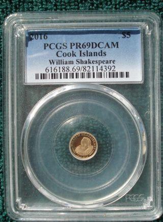 2016 $5 Cook Islands William Shakespeare.  5 Gram.  9999 Gold Proof Pcgs Pr69dcam photo