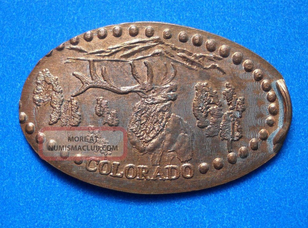 Colorado Elongated Penny Co Usa Cent Centennial State 1876 Souvenir Coin Elk Exonumia photo
