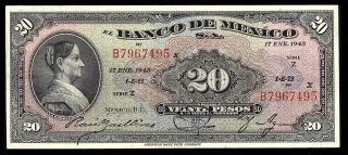 El Banco De Mexico 20 Pesos Series Z - B 17.  1.  1945 P - 40h Vf photo