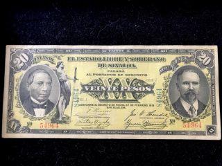 Mexico 1915 Veinte Pesos De Sinaloa Large Banknote, photo