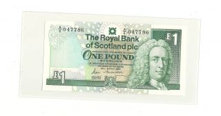 1987 The Royal Bank Of Scotland Pls One Pounds Prefix A6 Gem - Uncirculated photo